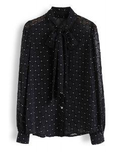 Diamond Sheer Bowknot V-Neck Shirt in Black