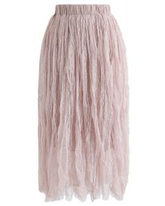 Dots Mesh Tulle Pleated Midi Skirt in Pink