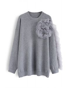 3D Mesh Decorated Sleeves Knit Sweater in Grey
