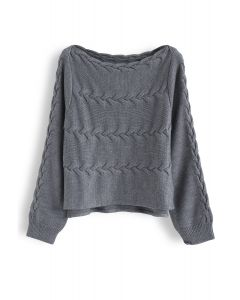 Parallel Cable Split Boat Neck Knit Sweater