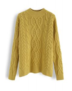 Cozy Braid Texture Knit Sweater in Mustard