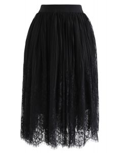 Floral Lace Mesh Skirt in Black
