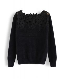 Floral Crochet Fluffy Knit Sweater in Black