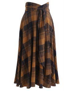 Crisscross Plaid A-Line Skirt in Mustard