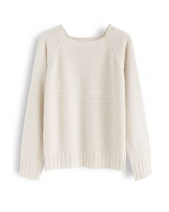 Waffle Knit Sweater in Cream