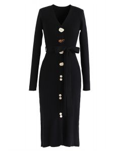 Irregular Buttoned Ribbed Knit Dress in Black