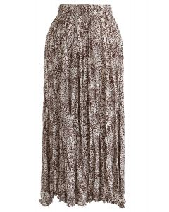Leopard Print Pleated Midi Skirt in Brown