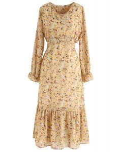 Floret V-Neck Frilling Chiffon Dress in Yellow