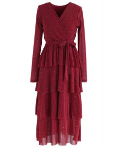 Shimmer Tiered Bowknot Wrap Dress in Wine