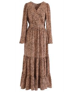 Flowy Leopard Print V-Neck Maxi Dress in Caramel