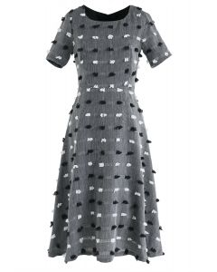 3D Cotton Dots Embellished Midi Dress