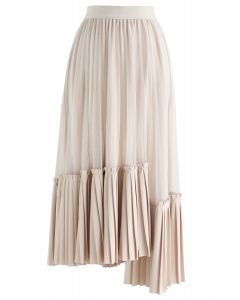 Mesh Asymmetric Hem Pleated Midi Skirt in Cream