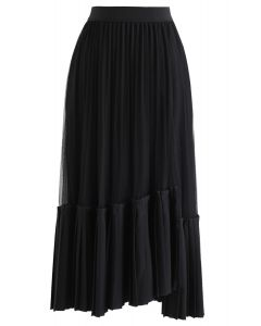 Mesh Asymmetric Hem Pleated Midi Skirt in Black