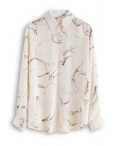 Abstract Print Sleeves Chiffon Shirt