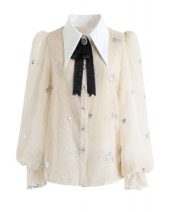 Diamond Bowknot Brooch Sequined Shirt in Cream