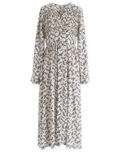 Floret Aplenty Chiffon Dress in White