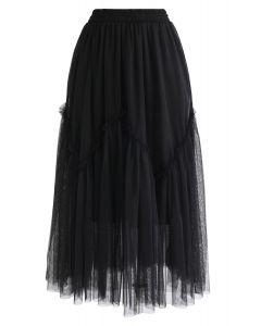 Black Wavy Double-Layered Mesh Tulle Skirt