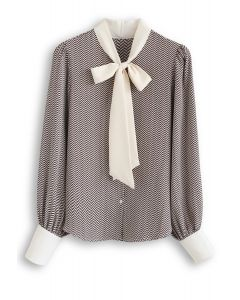 Slanted Stripes Bow Neck Chiffon Top in Brown