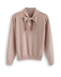Bow Neck Sleeves Knit Top in Tan