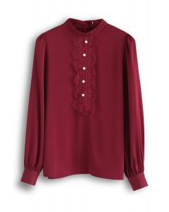 Pearls Embellished Lace Chiffon Top in Red