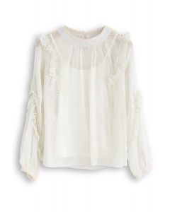 Eyelet Floral Embroidered Semi-Sheer Top in Cream
