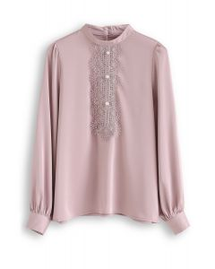 Pearls Embellished Lace Chiffon Top in Pink