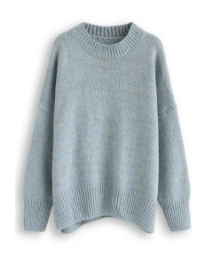 Loose Soft Knit Sweater in Turquoise