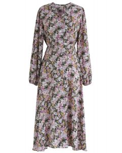 Daisy Print Button Down V-Neck Dress in Lilac
