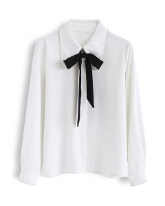 Crystal Edge Bowknot Button Down Shirt in White