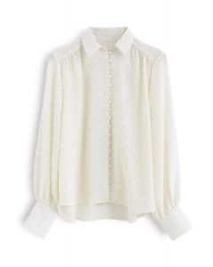 Flock Dots Button Front Hi-Lo Shirt in Cream