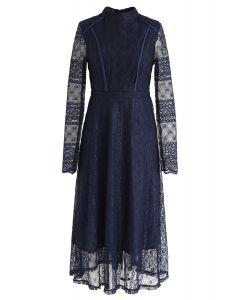 Mock Neck Full Lace Midi Dress in Navy