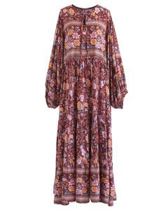 Boho Floral Puff Sleeves Loose Maxi Dress in Caramel