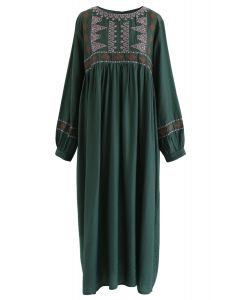 Embroidered Sleeves Boho Midi Dress in Green