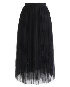 Pearls Trim Mesh Tulle Pleated Skirt in Black