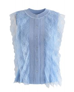 Lace Button Down Sleeveless Knit Top in Blue