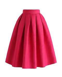 Jacquard Pleated A-Line Midi Skirt in Hot Pink