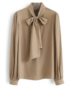 Scarf Neck Smock Top in Tan