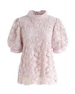 Full of Daisy Crochet Top in Pink