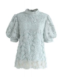 Full of Daisy Crochet Top in Mint