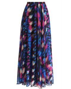 Neon Light Spot Printed Maxi Skirt