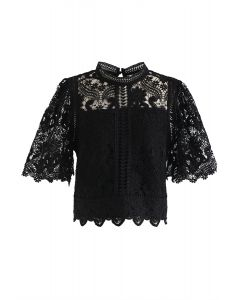Crochet Bell Sleeves Cropped Top in Black