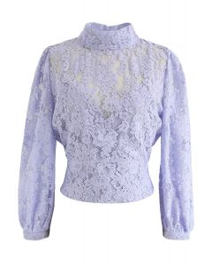 Floral Lace Open Back Crop Top in Lavender