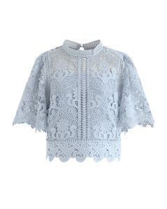 Crochet Bell Sleeves Cropped Top in Dusty Blue