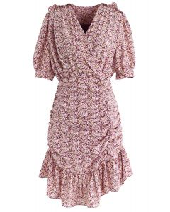 Floret Ruffle Ruched Midi Dress in Pink