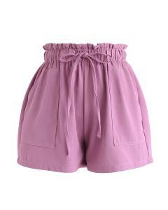 PaperBag-Waist Pockets Shorts in Fuchsia