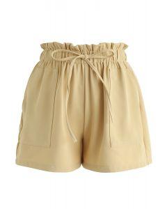 PaperBag-Waist Pockets Shorts in Mustard