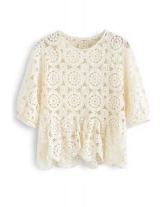 Scrolled Hem Full Crochet Top in Cream