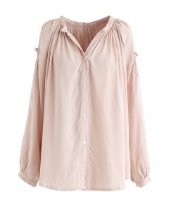 Button Down Embroidered Loose Shirt in Peach