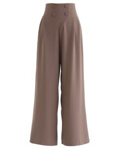Button Embellished Wide-Leg Pants in Brown