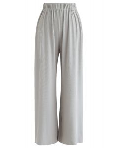 High-Waisted Ribbed Pants in Grey